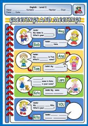 English Worksheets: GREETINGS AND MEETINGS 2