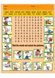 English Worksheet: IRREGULAR VERB WORD SEARCH AND MATCHING PICS