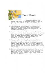 English Worksheet: Mesopotamia: Fact Sheet