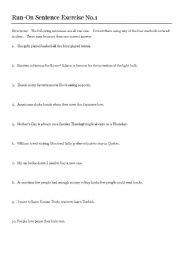 English worksheets: Run-On Sentences & KEY