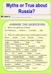 English Worksheet: Do You Know Russia? Myths and True about Russia.