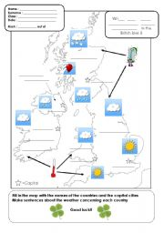 English Worksheet: what is the weather like today in the British Isles?