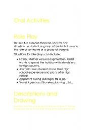 English Worksheet: Oral Activities