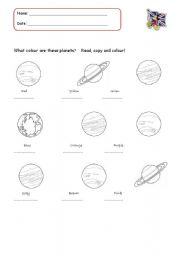 Worksheet Planets Worksheets english teaching worksheets the planets to colour