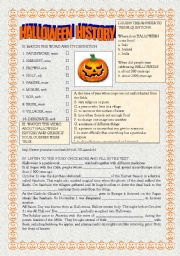 English Worksheets: Halloween History