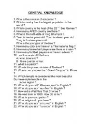 English Worksheets: general knowledge