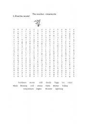 English Worksheet: The weather - crosswords