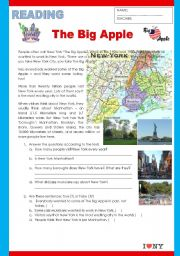 English Worksheet: The Big Apple