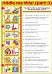 English Worksheets: RIDDLE ME THIS! (PART 3)