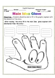 English Worksheet: Main Idea Glove