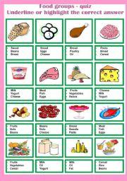 English Worksheet: Food groups - quiz