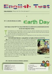 English Worksheet: Environment Test (another version of my previous Earth Day test)