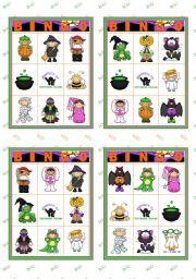English Worksheet: Halloween set (4)  - Bingo cards (1/2)