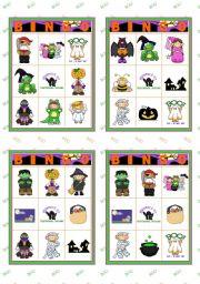 english worksheet halloween set 4 bingo cards 22