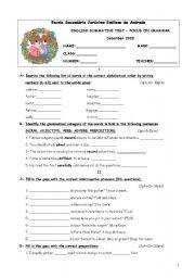 English Worksheet: Grammar test 10th form (1st term)