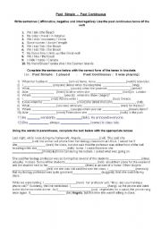 English Worksheets: past continuos