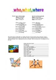 English Worksheets: Who,What, and Where