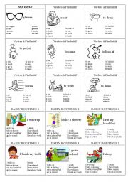 English Worksheets: family cards page 10 - the head, verbs, daily routines 1