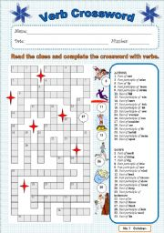 English Worksheet: Verb crossword 1