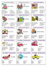 English Worksheets: family cards page 11 - daily routines 1, dailly routines 2, transport