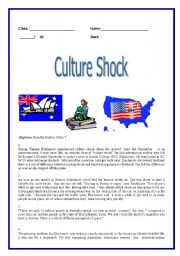 Culture shock / reading  ( 4 pages )