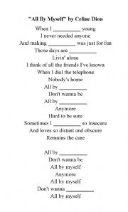 English Worksheets: Song: All by My self - Celine Dion