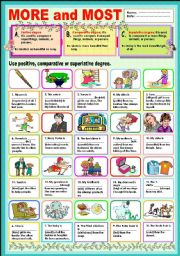 English Worksheet: More and Most