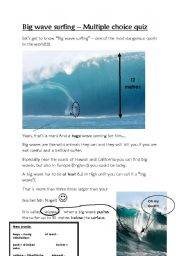 English Worksheet: Surf quiz - Reading comprehension - Exteme sports