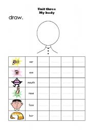 English Worksheets: Re write the parts of the head