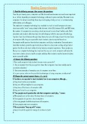 English Worksheets: two samples of reading comprehension