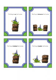 English Worksheet: Frog Wizard Preposition Cards with Story to Complete (8 Preposition Cards with 4 Backing Cards)