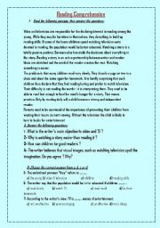 English Worksheets: two samples of reading comprehension (2)