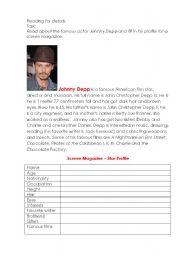 English Worksheets: A Film Star�s Profile