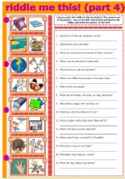 English Worksheets: RIDDLE ME THIS! (PART 4)