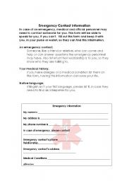 English Worksheets: Emergency Contact form