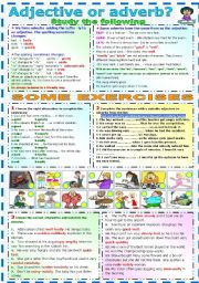 English Worksheet: ADJECTIVE OR ADVERB? GRAMMAR AND EXERCISES (B&W VERSION INCLUDED)