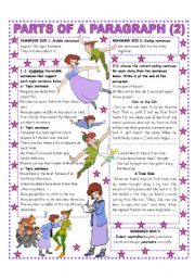 English Worksheets: PARTS OF A PARAGRAPH (2/2) EASY REFERENCE AND ACTIVITIES - Upper Elementary & up.