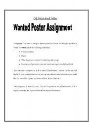 English Worksheet: Of Mice and Men Wanted Poster