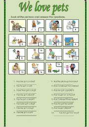 English Worksheets: We love pets. (2 pages)