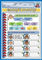English Worksheet: EMILY�S FAMILY (2 PAGES)