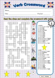 English Worksheet: Verb crossword 2
