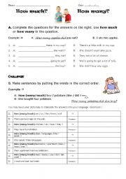 English Worksheets: How much? How Many?
