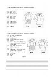 English Worksheet: colour the school uniform