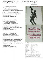 English Worksheet: Everything I do- Bryan Adams