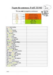 English worksheet: Past Tense - Negation