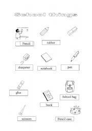 English Worksheets: sachool things