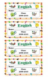 English exercise book labels