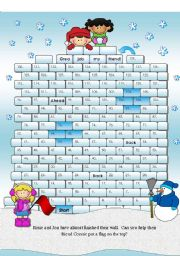 English Worksheet: Snow Fort Winter Board Game with 48 Word Cards (over 100 spaces on the board)