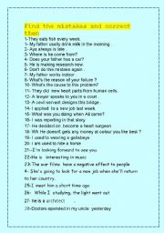 English Worksheets: FIND THE MISTAKE  and correct them