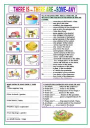 English Worksheet: THERE IS -- THERE ARE -- SOME --ANY